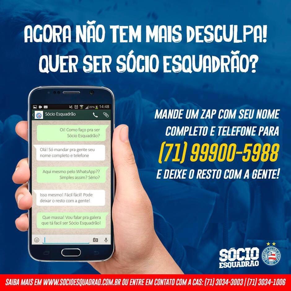 6d56945909 Jogo rápido! Torcedor do Bahia agora pode virar sócio via WhatsApp ...