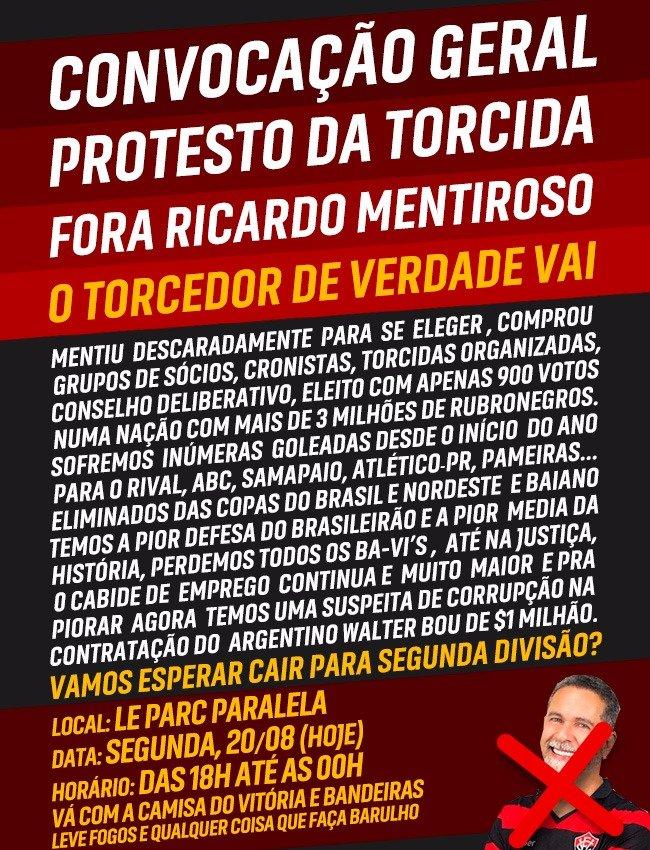 Torcida do Vitória faz novo protesto contra Ricardo David - Notícias ... e964512639747